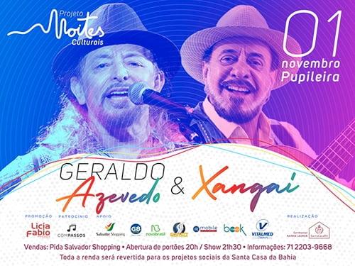 Salvador recebe show de Geraldo Azevedo e Xangai no dia 1º de novembro
